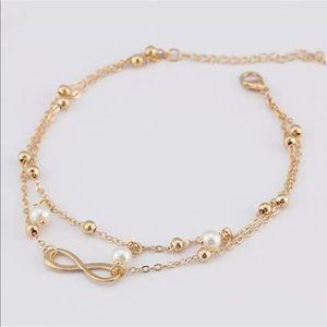 Double layer anklet bracelet